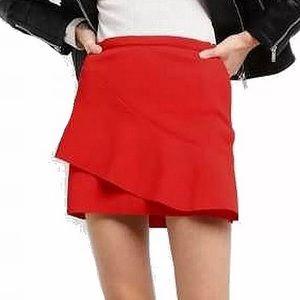 Topshop red high rise Asymmetric Ruffle miniskirt